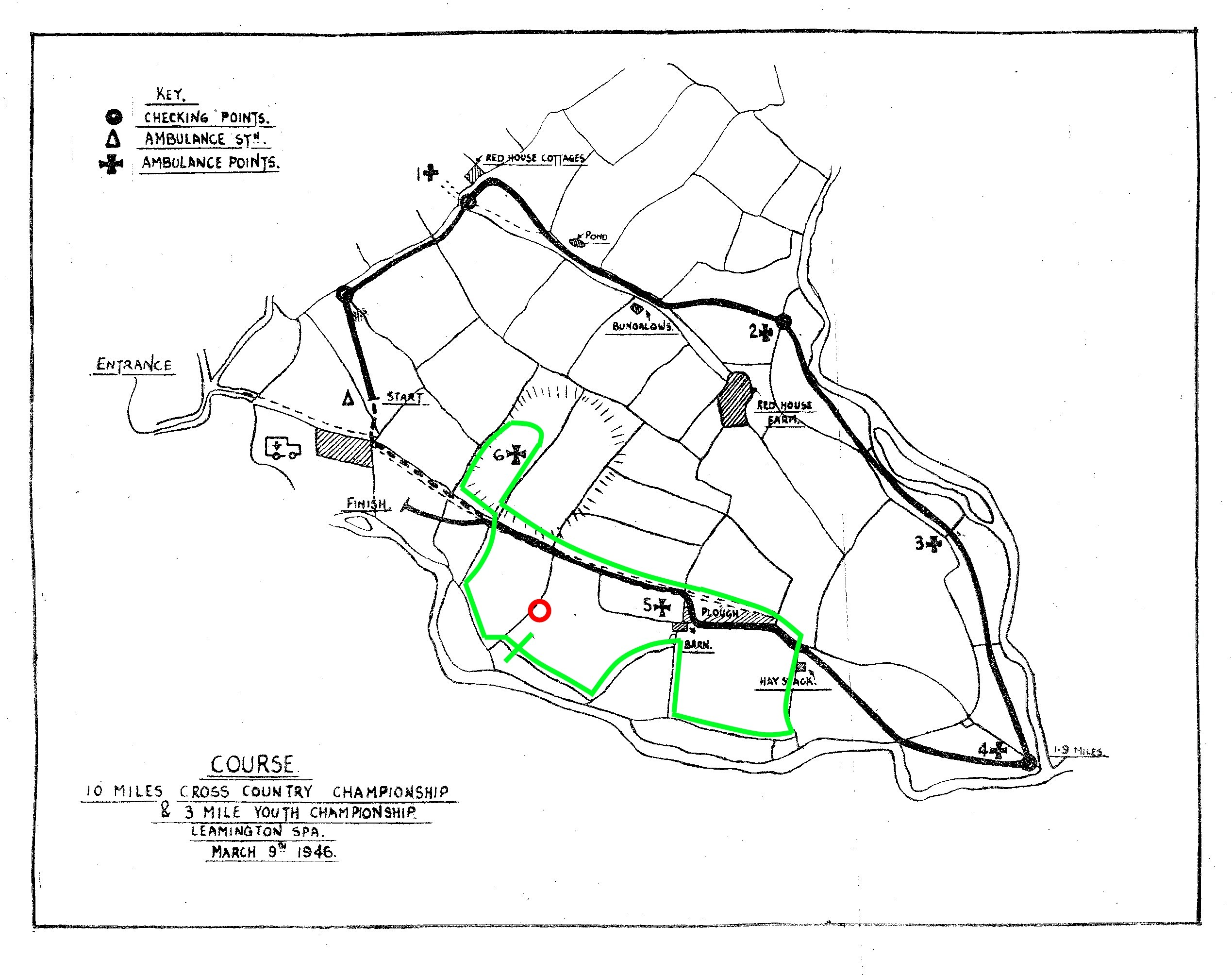 BDXCL Leamington XC Course 1946 Annotated